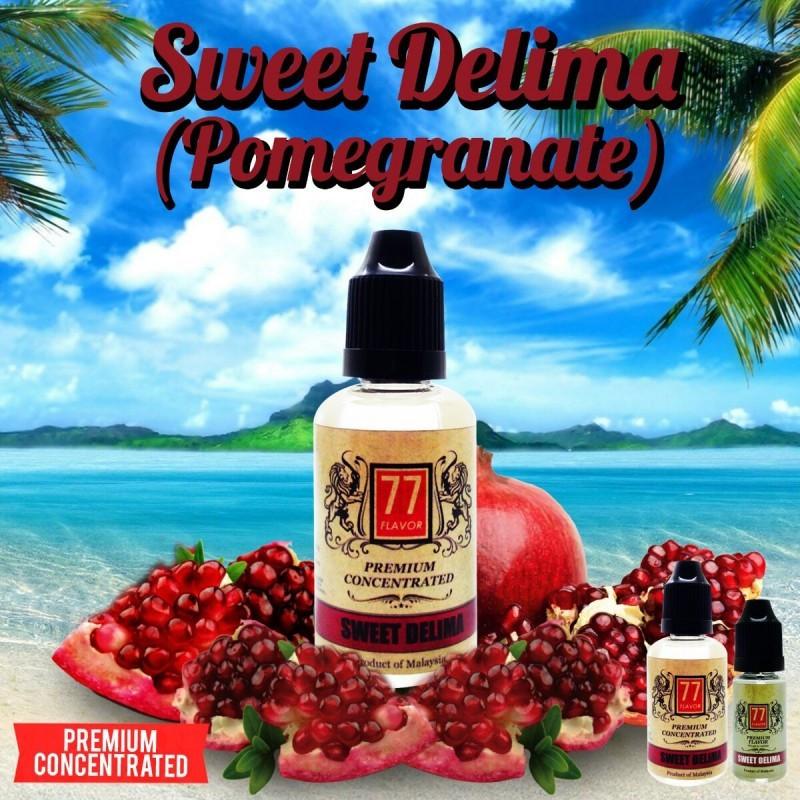 Sweet Delima Concentré 10/30ML - 77 Flavor - LeSweet Delima possède un gout de grenade on ne peut plus prononcé.